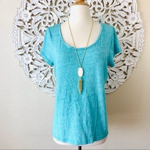 {Vineyard Vines} Blue Heather Scoop Neck Slub Tee